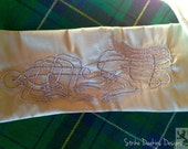 Celtic Wedding Handfasting Cloth - Celtic Wolf on Silk (Pale Green and Silver)