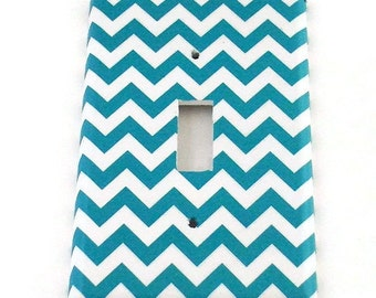 Light Switch Cover Wall Decor Switchplate Switch Plate in Turquoise Chevron  (229S)