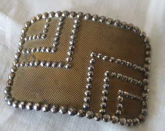 ANTIQUE Gold Metal & Riveted Cut Steel Trim Belt Buckle