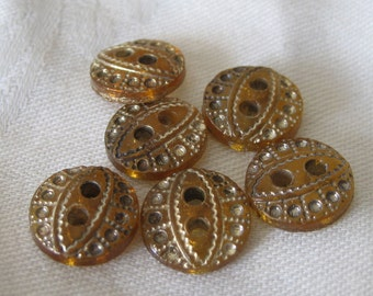 Set of 6 VINTAGE Small Amber Glass & Tint BUTTONS