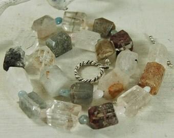 Chunky Rutilated Quartz Necklace Morganite Beryl Choker