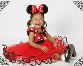 red MINNIE MOUSE dress  with TUTU  Party Dress  in Red Polka Dots  with black  dress 1st Birthday party
