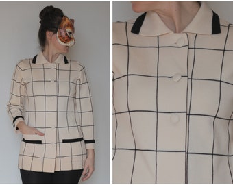 Vintage 50s 60s Cream and Black Window Pane Wool Knit Cardigan Sweater | Medium