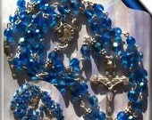 Swarovski Rosary Necklace Capri Blue AB  All  Sterling Silver Lots of Sparkle and Shine