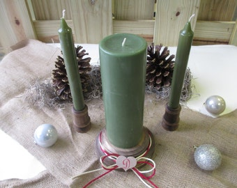 Christmas Winter Holiday Wood Candle Set Rustic Monogram  - Item 1619