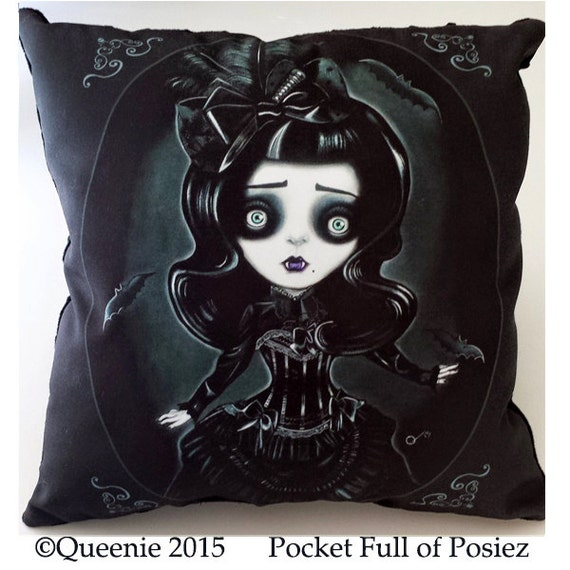 Big Soft Throw Pillows : Vampire Girl Decorative Pillow Large Soft Black Dot Pocket