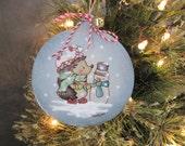 Christmas ornament - Picli the hedgehog building a snowman