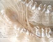 La Boheme   Bridal Wedding Garter Set with Platinum Peacock Feather Antique White Satin and Ivory Lace - Ready to Ship