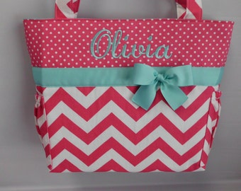 CHEVRON and DOTS  in Hot PINK  .. .. Aqua Accents    ...   Diaper Bag ... Bottle Pockets ...  Monogrammed  FReE