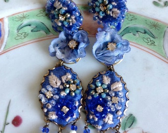 Lilygrace Embroidered Floral Silk Cameo Earrings in Delphinium Blue with Vintage Rhinestones and Crystal beads