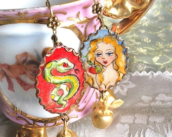Lilygrace Eve and the Serpent Handpainted Cameo Earrings with Golden Brass Apples