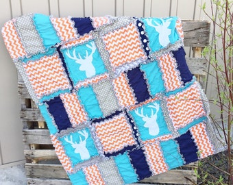 Woodland Blanket - Navy / Turquoise / Navy / Gray - Deer Crib Bedding Rustic Baby Quilt - Hunting Quilt - Rustic Baby Quilt Outdoor Nursery