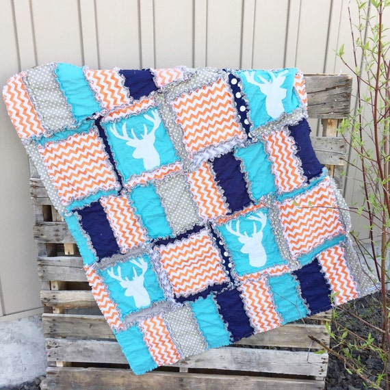 Orange Deer Silhouette Rag Quilt for Baby Boy