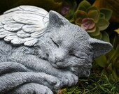 Cat Angel Statue - Long Hair, Maine Coon, Norwegian Forest Cat, Concrete Garden Art, Pet Memorial Sculpture