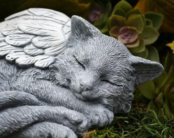 Cat Angel Statue - Long Hair, Maine Coon, Norwegian Forest Cat, Concrete Garden Art, Pet Memorial Sculpture