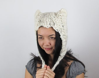 White Kitty Hat Cat Hat in White Hat Hand Knit Wool Hat
