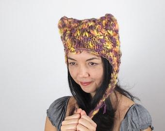 Kitty Hat Cat Hat Purple and Lemon Yellow Wool Hand Knit