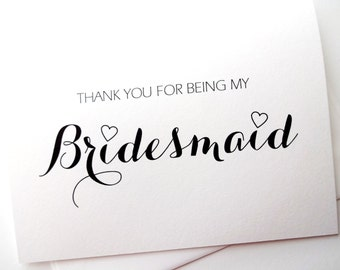 Bridesmaid Wedding Thank You Card - calligraphy with hearts