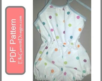 PDF Pattern - Girls Summertime Bubble Romper - 6 mth - 5 girls