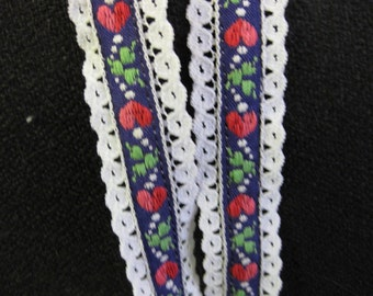 "Vintage Swiss Alp Like Embroidered Heart Leaf Lace Tape Ribbon Trim 106"" plus 12"" pieces"