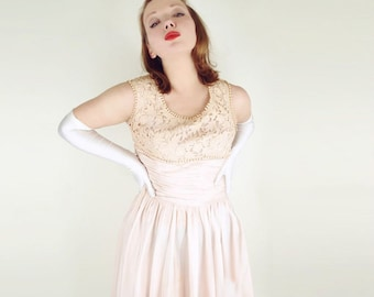 60s Pale Blush Pink Taffeta and Lace Party Dress S