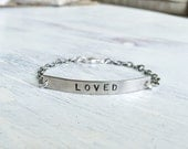 LOVED - Hand Stamped Silver Chain Link Bracelet