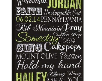 Custom Elite Subway Typography Word Art on Canvas, Personalized Family Name Sign