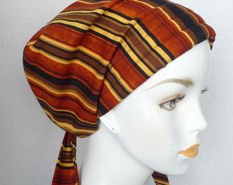 English Traditions Cancer Chemo Hat Scarves Head Wrap Alopecia Striped Turban