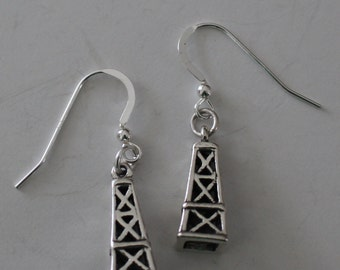 Sterling Silver OIL DERRICK Earrings  - 3D