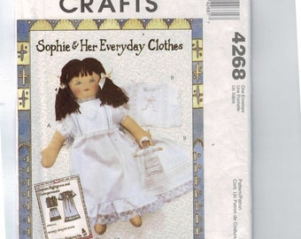 Craft Doll Sewing Pattern McCalls M4268 4268 Sophie and Her Everyday Clothes Doll Pattern 2 Ragtime Dolls 18 Inch Underwear Nightgown UNCUT