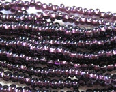 6/0 Dark Amethyst Silver Lined Genuine Czech Glass Preciosa Rocaille Seed Beads 11 grams