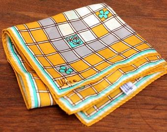 Vintage Vera scarf with mod floral crossword pattern, vintage 1970s square. Vera Neumann.