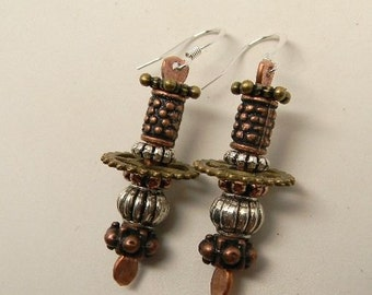 steampunk jewelry. Mixed metal earrings. Steampunk earrings.