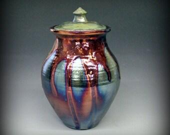 Raku Urn, Raku Pottery, Raku Lidded Vase, Green, Copper, Fuscia, Metallic and Iridescent Colors