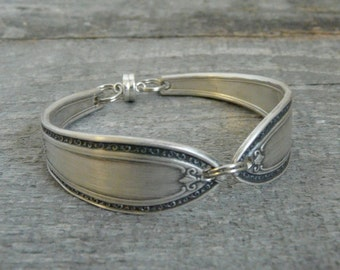 Silver Spoon Bracelet, Filagree Pattern, Silverware Jewelry