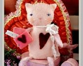Valentine cat felt doll Pattern PDF- wool kitty envelope chenille stem vintage like heart