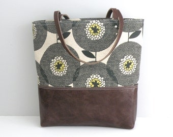 Tote Bag / Floral Print / Leather Bottom / Skinny laMinx