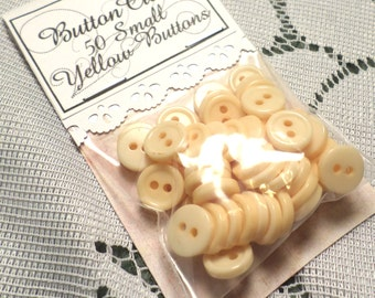 YELLOW Vintage Buttons Set of 50