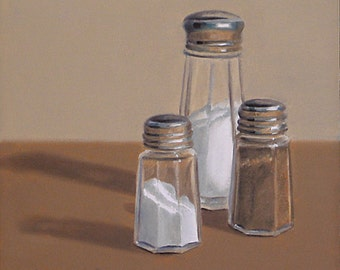 Salt and Pepper 6x6 original oil painting realistic still life by Nance Danforth