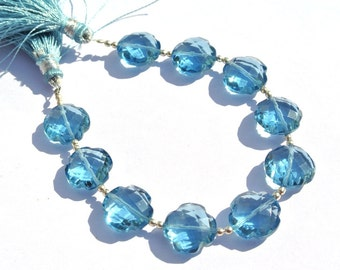 7 Inches AAA London Blue Quartz Faceted Clover Briolette Size 13x13mm approx Clover Beads Gemstone Briolette Beads