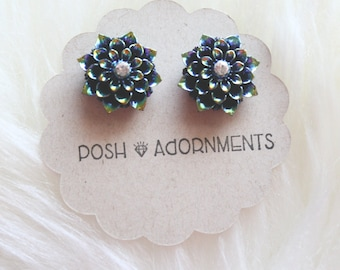 Vintage Glamour Navy Blue Iridescent Floral Stud Earrings