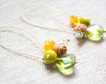 Spring Green Boho Beaded Long Gold Toned Kidney Hook Earrings
