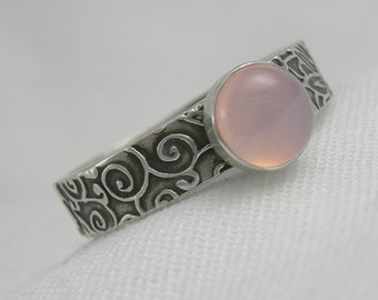 MADE to ORDER - Pink Chalcedony Sterling Stacking Ring Rustic PMC Artisan Jewelry