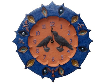 Ravens Ceramic Wall Clock- 13 inches in diameter- in Terracotta Clay with Sapphire Blue Glaze