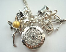 Peter Pan Pocket Watch Necklace Tinkerbelle Neverland Lost Boys Captain Hook