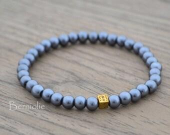 Beaded bracelet, grey glass pearl beads 6mm, stretchy, 7.5 inch, S56