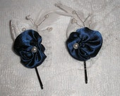 Fabric  Rose Bobby Pin Misses Womans Teens Handmade Hair Accessory Navy Blue