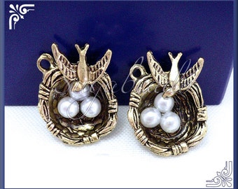 3 Antiqued Brass Bird Nest Charms w Eggs PB67