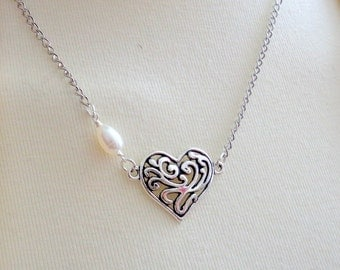 Heart Necklace, Filigree Heart Necklace, Pearl Necklace, Bridesmaid Jewelry