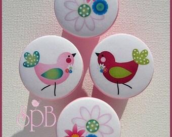 Chickadee Birds • Flowers • Daisy Knobs • Drawer Pulls • Girls Drawer Knobs • Dresser Knobs